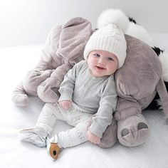 Big Elephant Stuffed Animal & Plush Toy Pillow For Baby Sleeping Back Cushion – baby pillow toy Baby Pictures, Baby Photos, Little Babies, Cute Babies, Elephant Stuffed Animal, Stuffed Animals, Elephant Pillow, Elephant Baby, Foto Baby