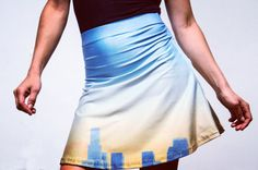 Ombre LA Skyline Skirt Skater Skirt Los Angles by DifferentCity