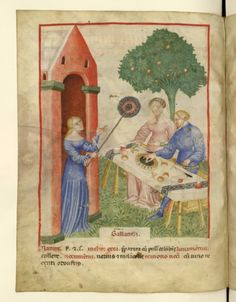 Aspic (fol. 65v)  Tacuinum Sanitatis (BNF Nouvelle acquisition latine 1673), c. 1390-1400 Late medieval circular fan, which I now believe is based on the Roman examples