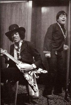 Jimi Hendrix with Eric Bourdon of The Animals