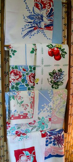 Vintage tablecloth display.