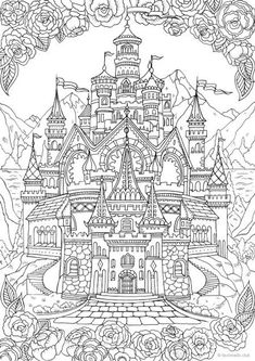 Castle - Printable Adult Coloring Page from Favore. Castle – Printable Adult Coloring Page from Favoreads (Coloring book pages for adults and kids, Colo Printable Adult Coloring Pages, Disney Coloring Pages, Free Coloring Pages, Coloring Sheets, Coloring Books, Kids Coloring, Colouring Pages For Adults, Mandala Disney, Castle Coloring Page