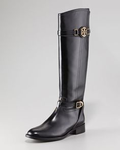 Tory Burch Calista Logo Leather Riding Boot, Black - Neiman Marcus- My new boots...now I can't wait for Fall!