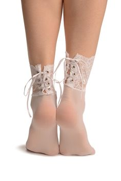 White corset-back lace socks