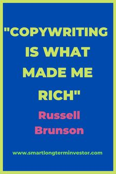 """""""Copywriting is what made me rich. It has more impact on how much money you make with your company than anything else. Marketing Plan, Content Marketing, Affiliate Marketing, Make Money Blogging, Make Money Online, How To Make Money, Twitter Tips, Top Blogs, Messages"""