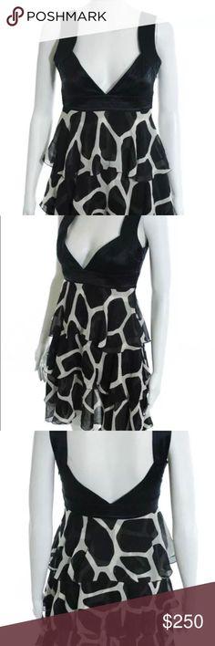 Celine Dress Navy and White Silk Animal Print Tiered Ruffle Mini Dress Celine Dresses Mini