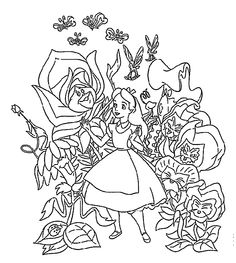 Alice In Wonderland Coloring Pages Flowers For Kids Printable Free