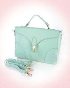 Structured Matte Mint Messenger Bag - This sharp messenger bag with a turn  lock clasp flap a1bf1b4f8b