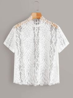 To find out about the Mock Neck Sheer Guipure Lace Top Without Bra at SHEIN, part of our latest Women Tops ready to shop online today! Kebaya Lace, Plus Size Women's Tops, Sheer Fabrics, White Style, Lace Fabric, Size Model, Types Of Sleeves, Mock Neck, Types Of Shirts