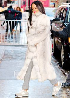 Rihanna arriving at the recording of GMA in New York.
