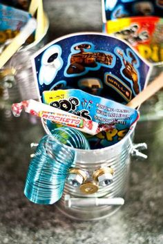 Robot Birthday Party take home container= tin can with nuts and bolts for face
