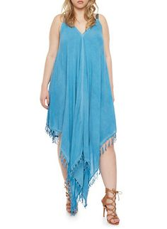 Plus Size Denim Dress with Asymmetrical Fringe Trim,BLUE