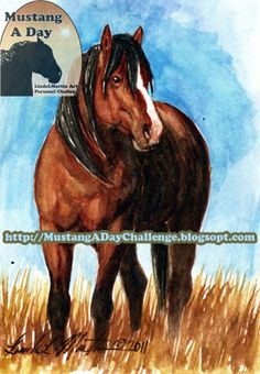 """Mustang A Day Personal Challenge of LindaLMartin: Steens HMA Week """"Honor"""" Challenge Painting #69"""