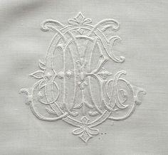 Em's Heart Antique Linens -Monogrammed Antique Linen Bolster Sham