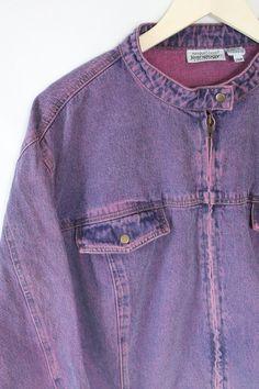 90s Purple Acid Wash Denim Jacket by JEANOLOGY // Oversize Retro Jean Jacket // 80s Mall Rat Valley Girl // Soft Grunge by VegaGenesisVintage on Etsy