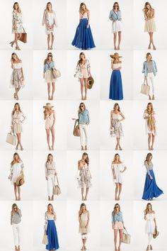 Spring Capsule Collection, Capsule Collections, Closet Staples, 10 pieces 25 ways, Women's Outfit Inspiration Beach Vacation Outfits, Honeymoon Outfits, Travel Outfit Summer, Summer Fashion Outfits, Summer Outfits Women, Holiday Outfits, Comfy Travel Outfit, Summer Ootd, Summer Beach