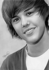 Justin Bieber by Rajacenna van Dam. She made this pencil drawing when she was 17 years old!