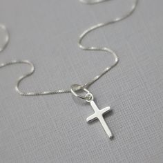 Sterling Silver Cross Necklace, Tiny Simple Cross Necklace, Confirmation Gift, Baptism Gift, Flower Gift Necklace, Baptism Necklace