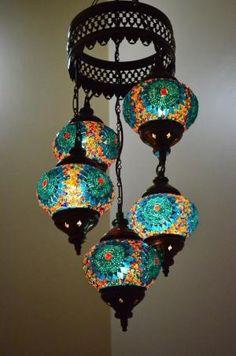 Turkish Handmade 5 Blue Globes Moroccan Mosaic Hanging Lamp Lantern Light by DeeDeeBean Flur Design, Moroccan Lamp, Turkish Lamps, Turkish Lanterns, Moroccan Style, Diy Interior, Handmade Home Decor, Bohemian Decor, Globes