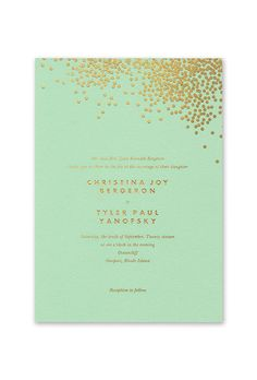 Brides: Mint-and-Gold Wedding Invitation. Mint wedding invitation with gold foil confetti details, starting at $603 for 100 invitations, Vera Wang
