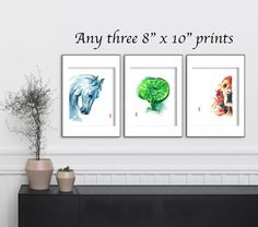 This item is a set of three 8 x 10 (20.3 cm x 25.4 cm) giclee fine art prints of original watercolor paintings by Jade Wu. The quality and texture