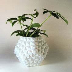 Dodecahedron Desk Planter, Geo Studded Flower Pot, Patio Ideas, 3D Printed Planter, Housewarming Novelty Gifts, Low Poly Office