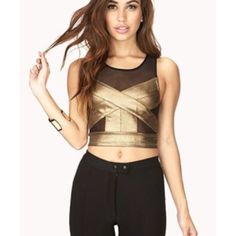 Gold & Black Mesh Crop Black and shiny lamé gold crop top from Forever 21. Perfect for a night out. New. Forever 21 Tops Crop Tops