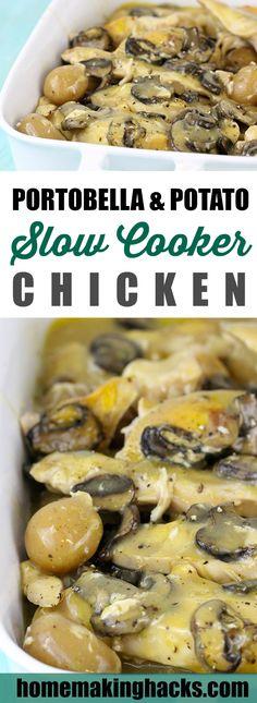 Going on my go-to easy recipe list! Portobella Mushroom & Potato Slow Cooker Chicken