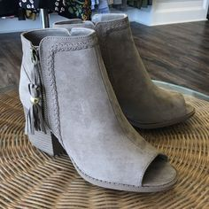 Taupe Suede Open Toe Booties