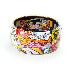 Designer inspired Handmade Decoupage Comic Art Bracelet, Roy Lichtenstein Altered Art,Bangle Bracelet, Austrian Crystal Accents
