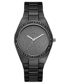 GUESS Watch, Women's Black Ion Plated Stainless Steel Bracelet 39mm U11055L3 - All Watches - Jewelry & Watches - Macy's
