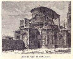 """Abside de l'Eglise de saint-Leonard, """"Géographie du département de la Haute-Vienne"""", 1887 - Bfm Limoges, http://www.bn-limousin.fr/items/show/2883"""