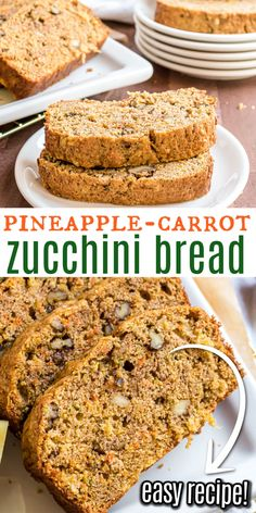 So much more than an ordinary Zucchini Bread, this loaf adds pineapple and carrots to the mix! A slice of Pineapple Carrot Zucchini bread makes a delicious breakfast or midday snack. Best Apple Recipes, Quick Bread Recipes, Pie Recipes, Carrot Zucchini Bread, Bread Dough Recipe, Cooking Bread, Holiday Desserts, Holiday Recipes, Our Daily Bread
