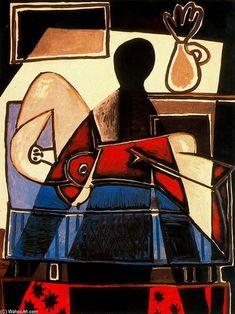 Acheter Tableau 'le ombre sur une femme' de Pablo Picasso - Achat d'une reproduction sur toile peinte à la main , Reproduction peinture, copie de tableau, reproduction d'oeuvres d'art sur toile