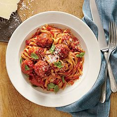 Linguine with Ricotta Meatballs | MyRecipes.com