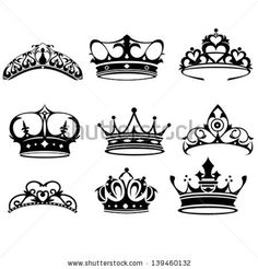Buy Crown Icons by artisticco on GraphicRiver. A vector illustration of crown icon sets. Vector illustration, zip archive contain eps 10 and high resolution jpeg. Princess Crown Tattoos, Princess Tattoo, Icon Set, Tattoo Drawings, Body Art Tattoos, Tatoos, Queen Crown Tattoo, Crown Silhouette, Tattoo Ideas