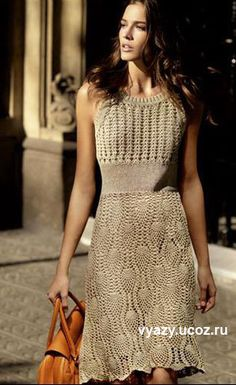 Crochet golden lace dress. I know that I've pinned this before. This link goes…