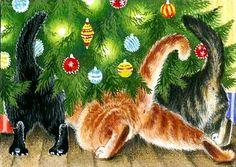 "Kitty Art - ""Where Is My Present?"" by Irina Garmashova Christmas Animals, Christmas Cats, Christmas Time, Merry Christmas, Vintage Christmas Cards, Christmas Pictures, Illustration Noel, Illustrations, I Love Cats"