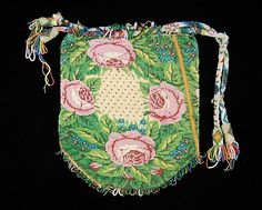 Pouch Made Of Glass, Linen And Silk - Mexican   c. Third Quarter 19th Century