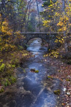 The old Blanchard Stone Bridges by Joe Sparks on Capture Arkansas // One of two old stone bridges at Blanchard Springs, built by the CCC in 1941.