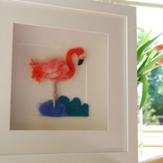 Flamingo Hand Felted Textile Art | Felt Wall Art | Gift Ideas For The Home