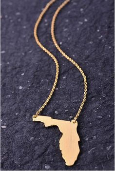 State of Florida Charm Necklace Gameday UF FSU UCF Gold Silver Gameday Necklace on Etsy, $15.99
