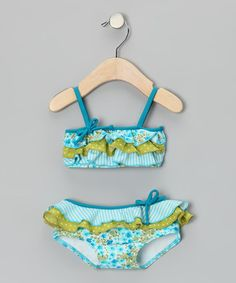 Take a look at this Turquoise Floral Ruffle Bandeau Bikini - Infant, Toddler & Girls by Azul Swimwear on #zulily today!