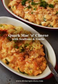 Quark Mac 'n' cheese with Scallions and Garlic Macaroni Recipes, Pasta Recipes, Cooking Recipes, Quark Recipes, Cheese Recipes, Healthy Cooking, Healthy Recipes, Healthy Treats, Slimming World Pasta
