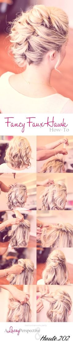 10 Elegant Hairstyles for Prom: Best Prom Hair Styles 2016 – 2017 Fancy Faux-Hawk Hairstyle Tutorial – Prom Updo Hairstyles for Medium Hair http://www.fashionhaircuts.party/2017/05/08/10-elegant-hairstyles-for-prom-best-prom-hair-styles-2016-2017/