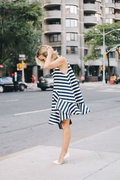 Striped Dress at NYFW SS15 | Damsel in Dior