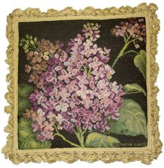 Study in Purple - 18x 18 in. needlepoint pillow