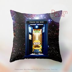 tardis doctor who with minion decorative - Pillow Case 18 x 18 - Note for 16 inch