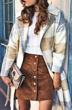 #fall #outfits Printed Coat // White Blouse // Camel Skirt