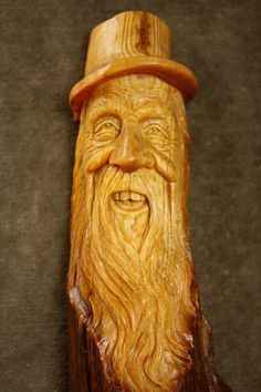 Wood Spirit Wood Carving Gnome Elf Wizard by TreeWizWoodCarvings, $105.00